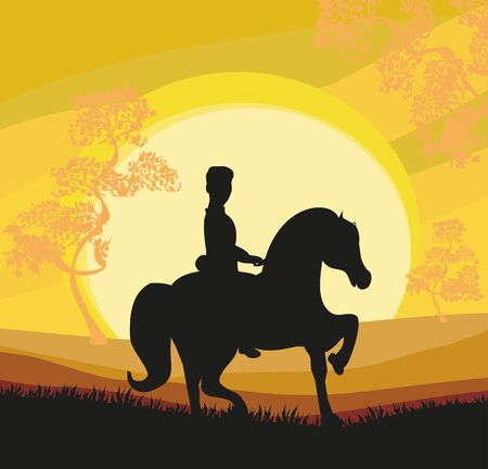 Silhouette of a man ride a horse during sunset 向量圖像