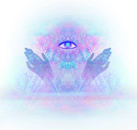hands open around masonic symbol. New World Order.