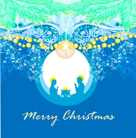 Birth of Jesus in Bethlehem in a glass bubble  イラスト・ベクター素材