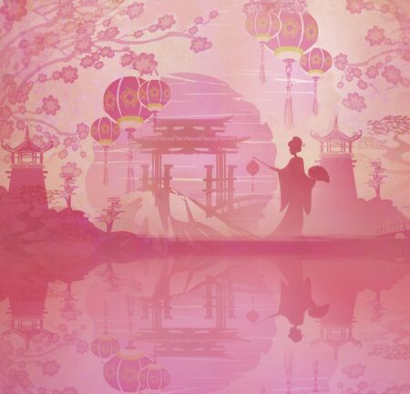 Abstract landscape with Geisha, Mid-Autumn Festival for Chinese New Year