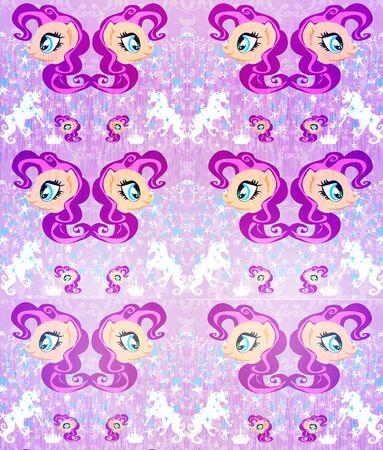 Seamless Pattern - unicorn, crown and stars