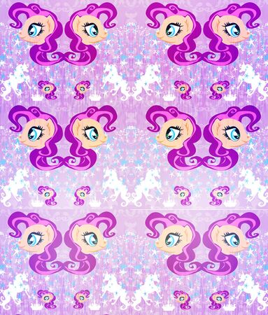 Seamless Pattern - unicorn, crown and stars 写真素材 - 129826141