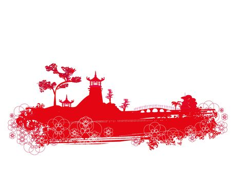 Abstract Chinese landscape, red decorative illustration