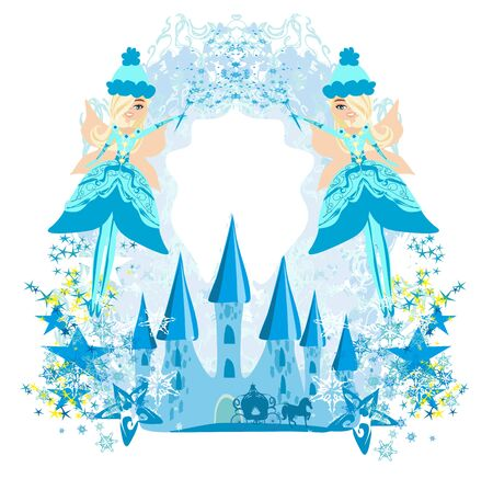 winter fairies and a decorative frame
