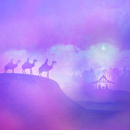 Christian Christmas Nativity Scene, abstract card 写真素材