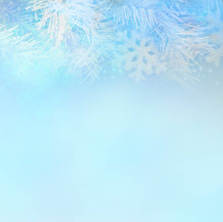 christmas background concept design of white snowflake and snow with copy space Imagens
