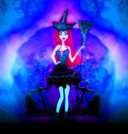 Halloween witch at dark cemetery
