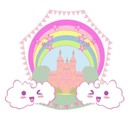 girlish frame with fairytale castle 일러스트