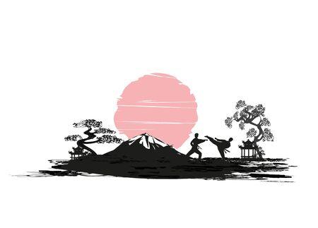 Karate occupations - abstraction card Ilustração