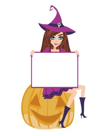 smiling witch sits on a pumpkin, frame with space for your text Illustration
