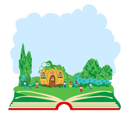 Open book illustration with seven Dwarfs