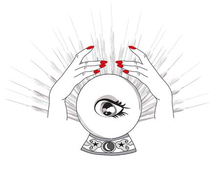 Hand drawn magic crystal ball with eye of providence in hands of fortune teller