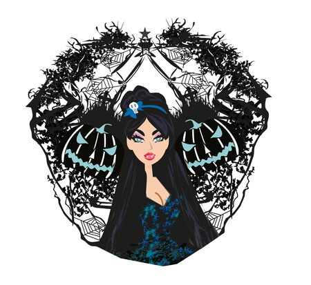 abstract decorative banner of a beautiful female vampire