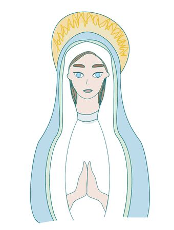 Holy Mary icon, isolated illustration 일러스트