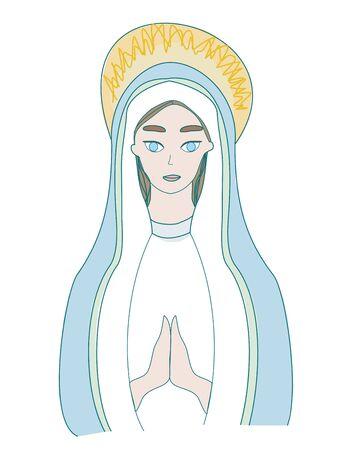 Holy Mary icon, isolated illustration Illustration