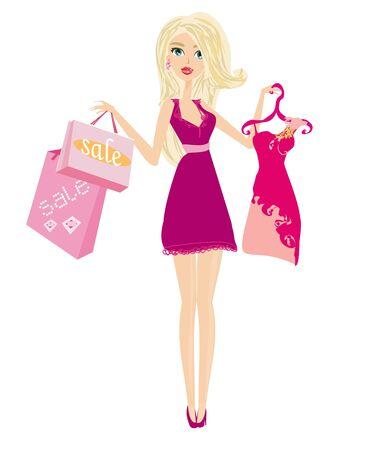 beautiful elegant girl shopping, isolated on white