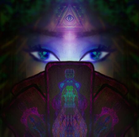 The Fortuneteller woman reads the future with cards