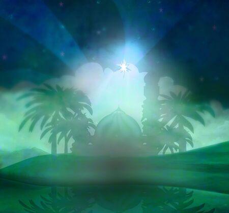 shining star of Bethlehem , abstract illustration