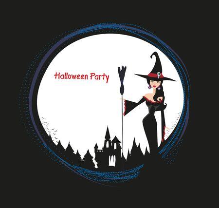 halloween invitation with beautiful witch  Çizim
