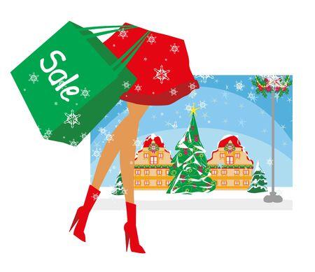 Weihnachtseinkäufe - Winterschlussverkaufskarte Vektorgrafik