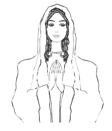 Blessed Virgin Mary portrait,  isolated illustration