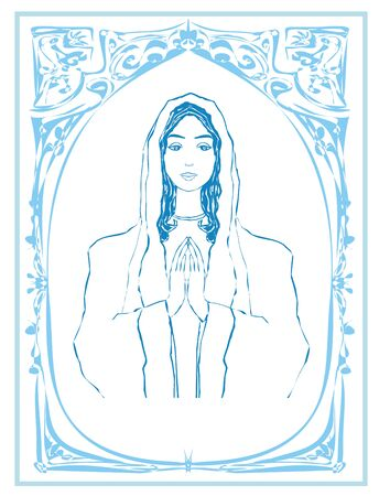 Blessed Virgin Mary portrait, decorative blue card with vintage frame