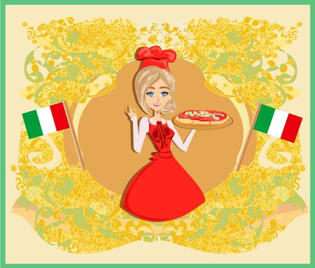Italian tasty pizza and woman chef. Abstract decorative card.