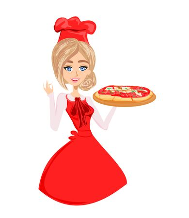 Woman pizza cook. Chef. Isolated on a white background.