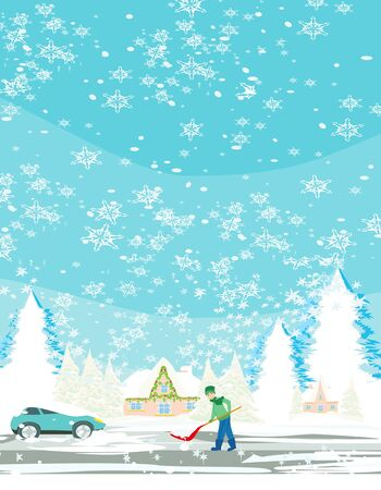 Man shoveling snow on winter landscape Illustration
