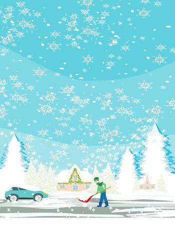 Man shoveling snow on winter landscape Illustration