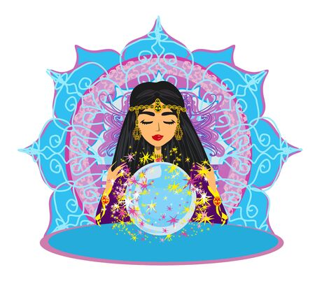 Fortune Teller Woman reads the future from the crystal ball Vettoriali
