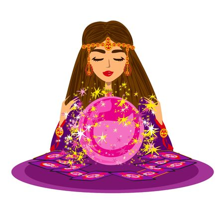 Fortune Teller Woman reads the future from the crystal ball Ilustração