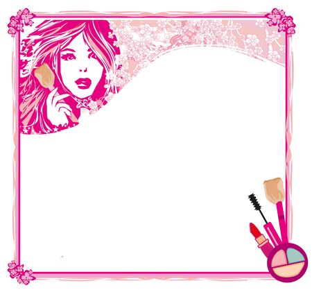 Banners with stylish beautiful woman and a set of makeup cosmetics