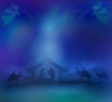 Świąteczna szopka religijna z aniołami