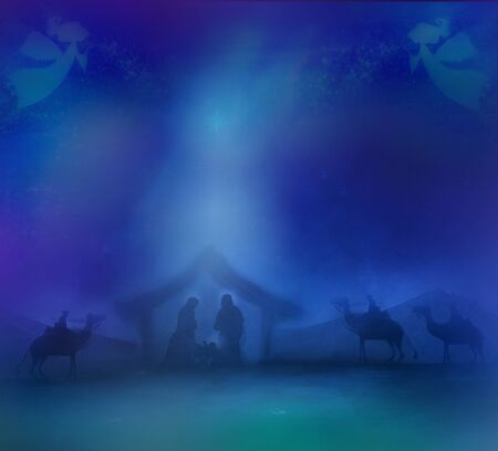 Christmas religious nativity scene with angels