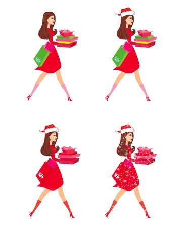 Woman in winter doing christmas shopping, character set Stock Illustratie