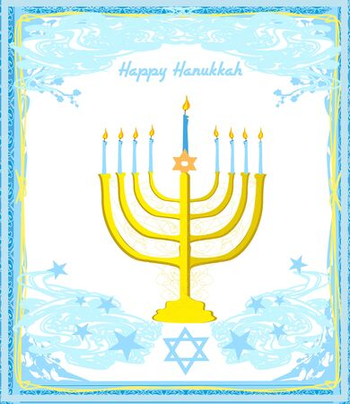 Hanukkah Greeting card. Hanukkah menorah candles.