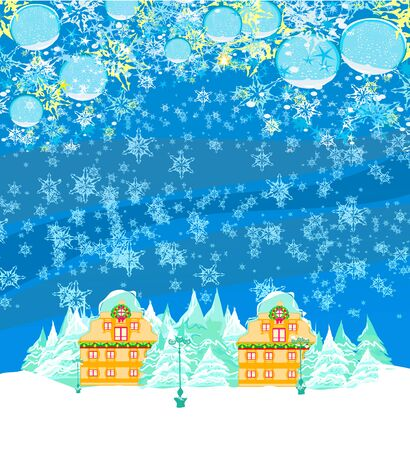 holidays in the village, decorative card with baubles and winter landscape