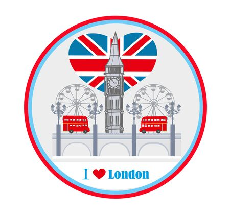 round avatar with icons of London