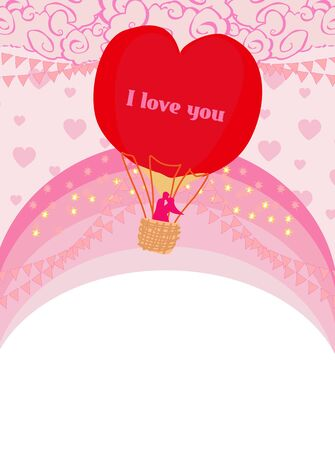 Hot Air Balloon and romantic couple - Valentine card Ilustrace