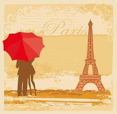 romantic couple of Tourists in Paris, abstract vintage card
