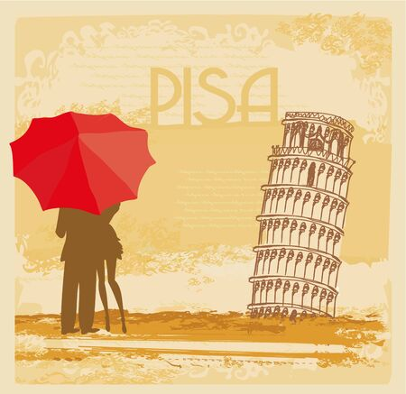 romantic couple of Tourists in Pisa, abstract vintage card Illustration