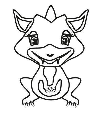cute little dragon girl, coloring book