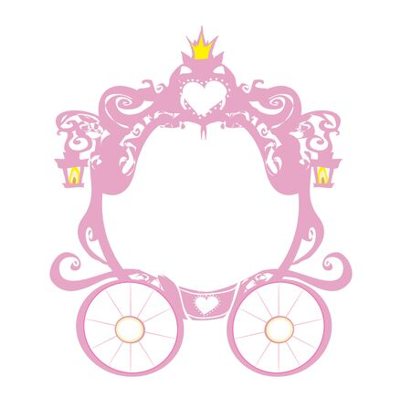 vintage decorative pink carriage frame Vettoriali