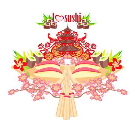 Sushi restaurant composition. Asian food design template.