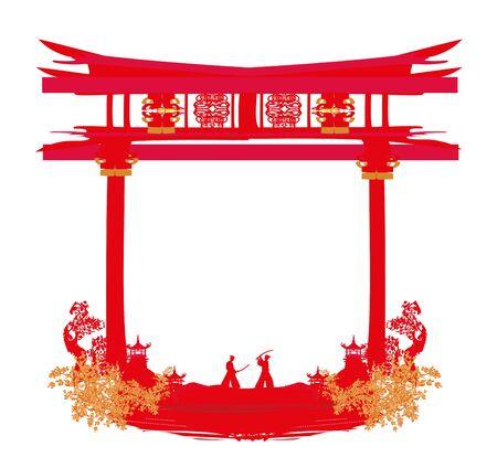 Japanese Samurai fighters silhouette on Asian landscape