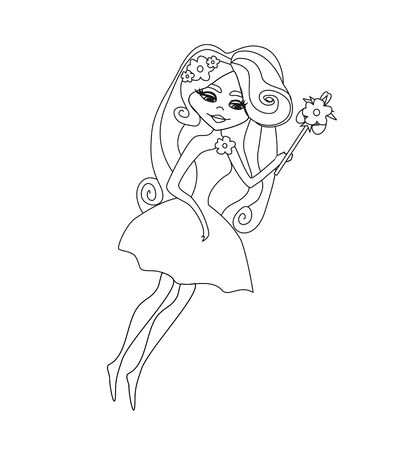 beautiful fairy character isolated from background, coloring book Vettoriali