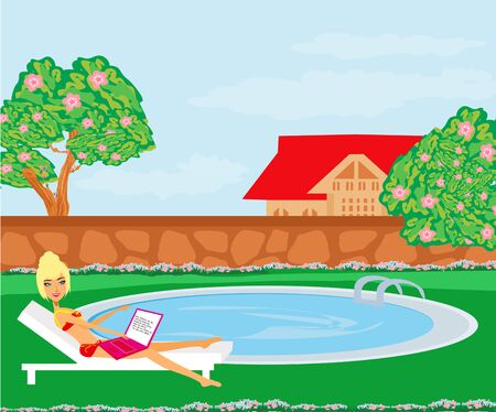 Woman sunbathing at swimming pool during summer  Illustration