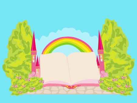 Magic world of tales, fairy castle appearing from the book - frame