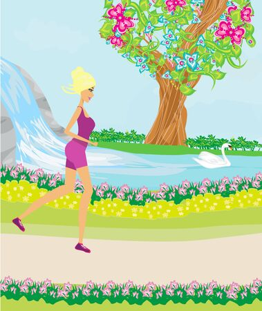 Jogging Girl in the Park on a beautiful spring day